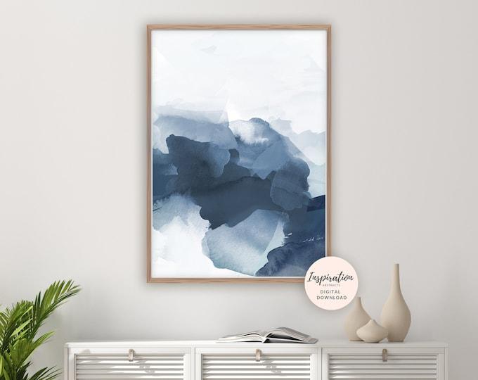 Navy Blue Watercolour Print, Mixed Media Abstract, Printable Art, Digital Prints, Modern Wall Art, Navy Blue Wall Art, Coastal Wall Art