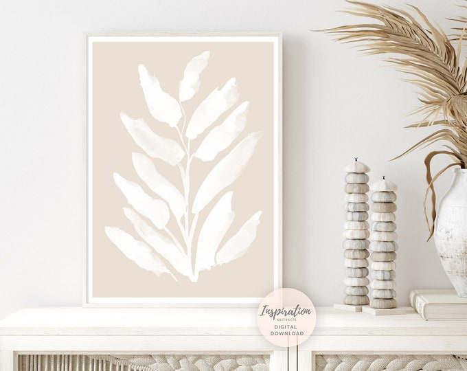 Minimal Beige and White Botanical Print, Modern Zen Wall Art, Printable Art, Simple Wall Art, Boho Decor