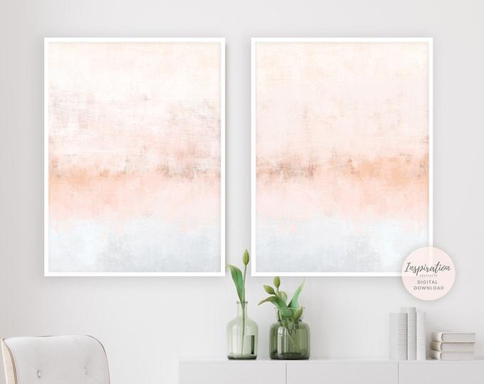 Blush Pink Wall Art, Set of 2 Art Prints, Nursery Art, Large Wall Art, Minimalist Art, Diptych Wall Art, Living Room Decor, Abstract Art