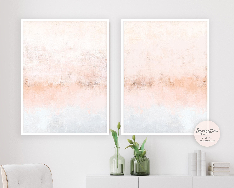 Blush Pink Wall Art Set Of 2 Art Prints Nursery Art Large Wall Art Minimalist Art Diptych Wall Art Living Room Decor Abstract Art