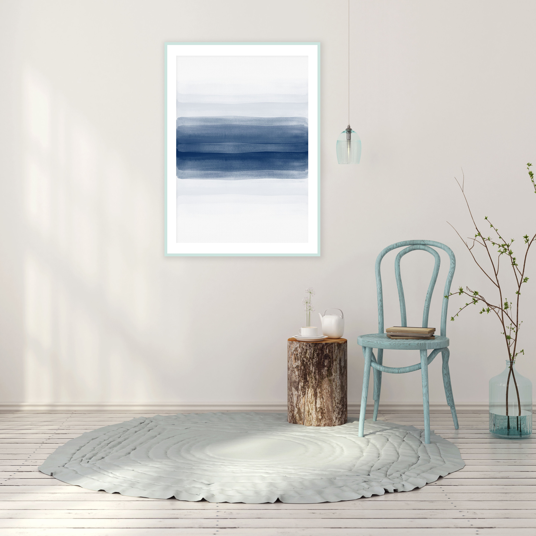 Minimalist Wall Art Navy Blue Abstract Art Modern