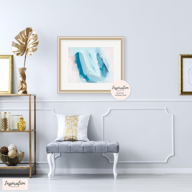 Printable Abstract Art, 16x20 Art Print, Blue and Pink Acrylic ...