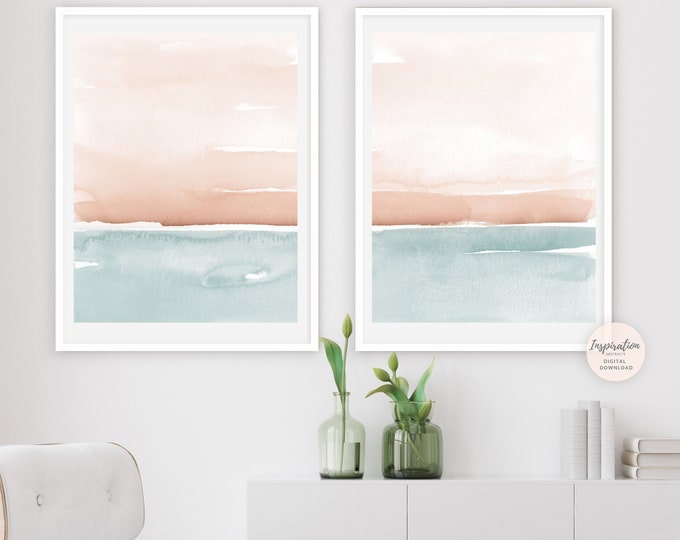 Set of 2 Pastel Abstract Paintings, Large Minimal Art, Printable Art, Nursery Prints, Bedroom Wall Art, Abstract Art, Gift For Her