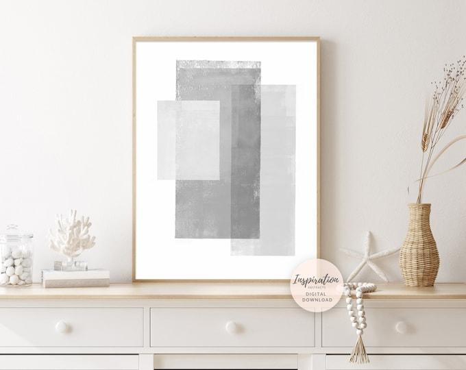 Minimal Abstract Art, Geometric Art, Grey and White Wall Art, Large Minimal Art, Apartment Decor, Simple Art Print, Modern Wall Art