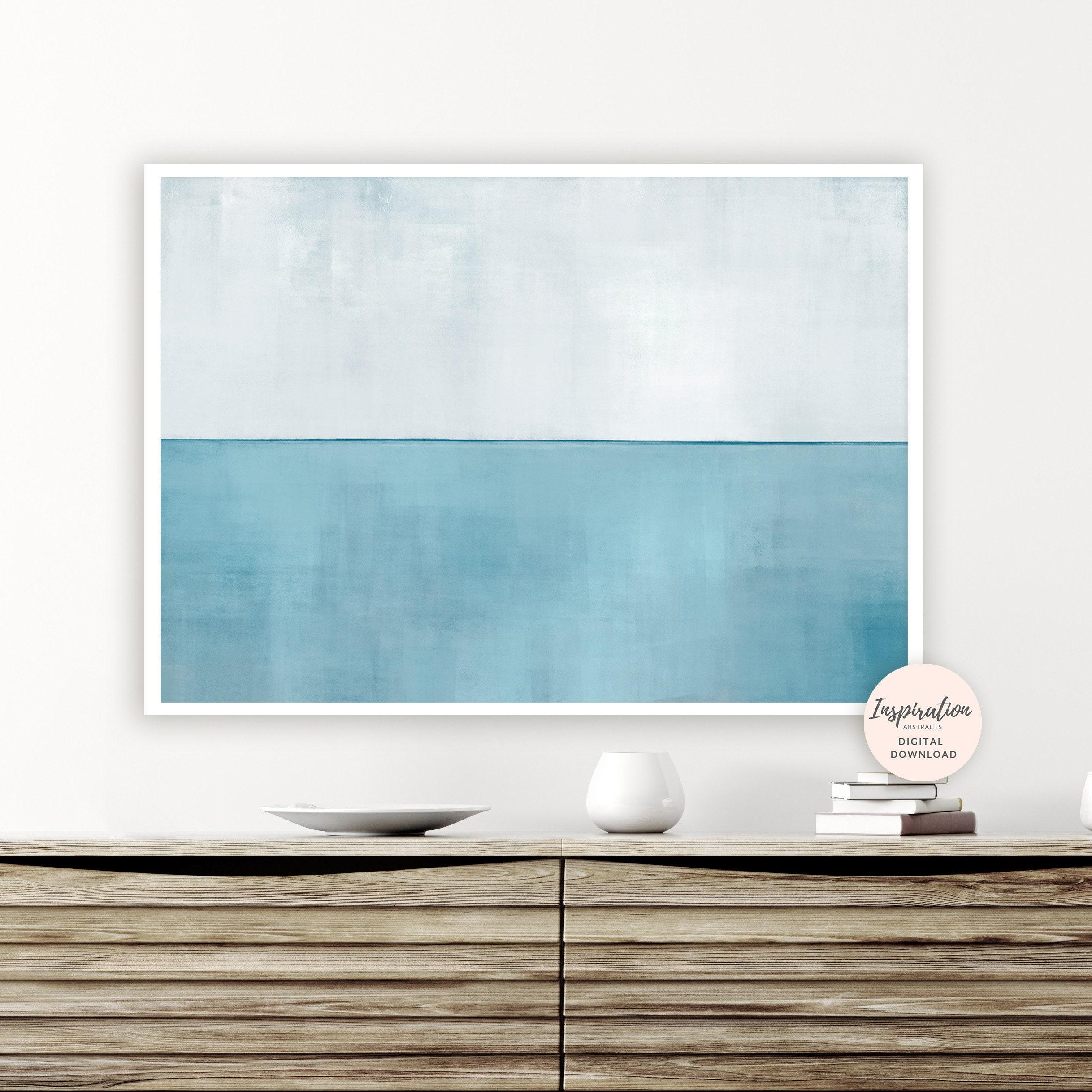 Calming abstract art blue grey wall art beach house art calming
