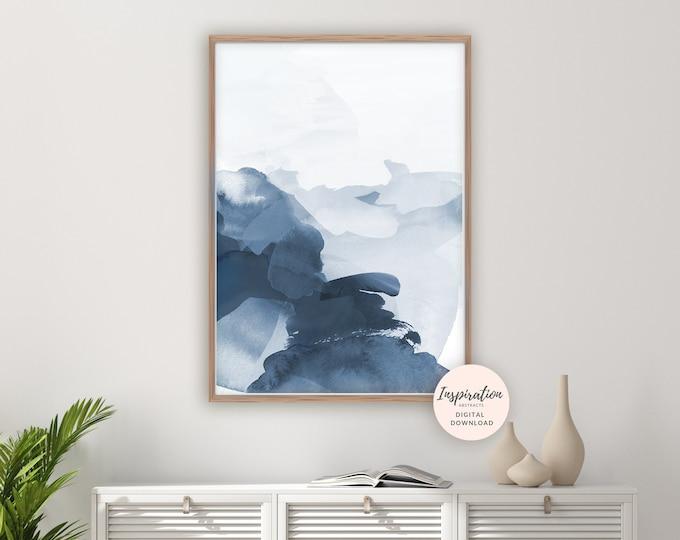 Blue Abstract Art, Navy Watercolour Print, Minimalist Art, Printable Art, Digital Prints, Modern Wall Art, Navy Wall Art, 24x36 Art Print