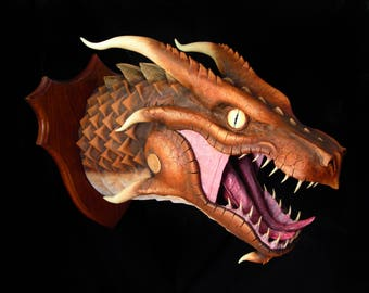 UNIQUE hand made wall mounted fauxidermy brown rust dragon head trophy by The Arcane Dragonry
