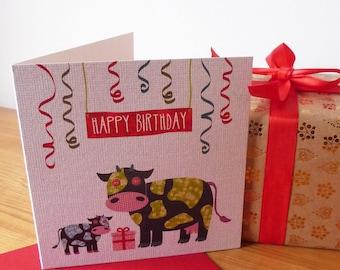 Collage-imlas Children's Birthday Card (Cows)