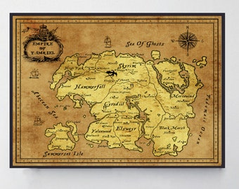 Skyrim, Skyrim Map, Gamer Gifts, Gift For Him, Gift For Boyfriend, Elder Scrolls, Tamriel Map, Morrowind, Oblivion Map, Dragonborn