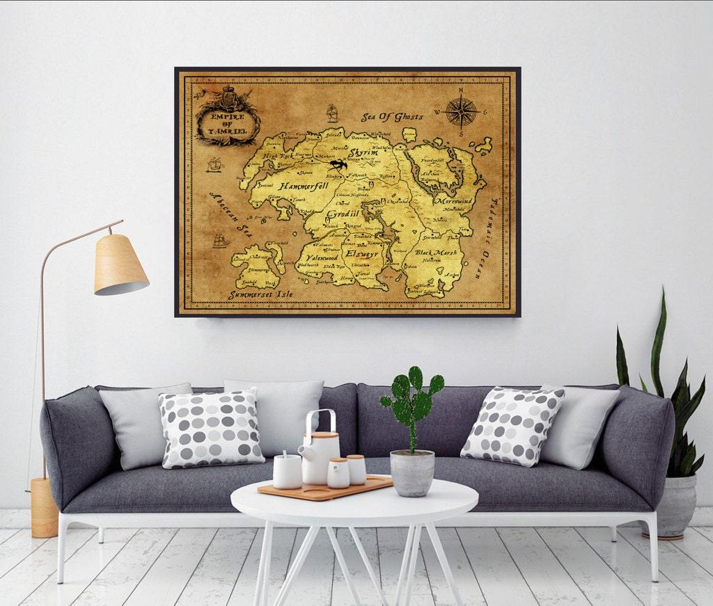 Skyrim Skyrim Map Gamer Gifts Gift For Him Gift For | Etsy