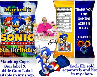 Sonic chip bag, Sonic the hedgehog party favor, Sonic treat bag, Sonic the hedgehog birthday, Gamer chip bag, Gamer party-DIGITAL FILE ONLY