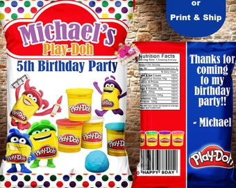 Playdoh chip bag, Playdoh party favor, Playdoh birthday, Playdoh treat bag-DIGITAL FILE ONLY