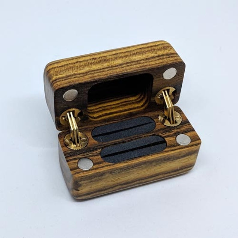 Concealable Double Hinge Wedding Set Exotic Wood Ring Box  image 0
