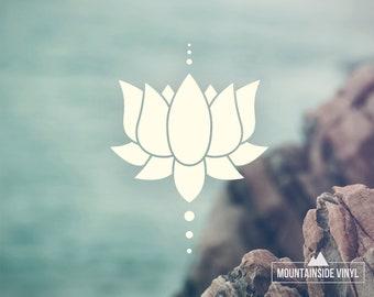 Lotus Flower Vinyl Decal - Yoga Lotus Sticker, Laptop Sticker, Flower Mirror Decal, Cute Floral Decor, Water Bottle Decal, Namaste Car Decal