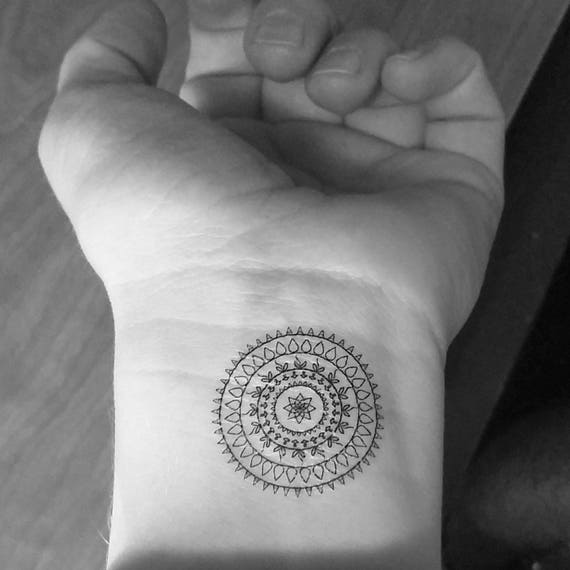 Wrist Mandala Tattoos Henna: 2 Temporary Tattoos / Mandala / Wrist / Tattoo / Fake
