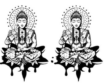 Buddha / 2 temporary tattoos / tattoo / temporary tattoo / black.