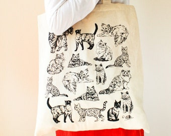 Cats Cotton Tote Bag | Hand Drawn Design by Gemma Keith | Natural Cotton Tote Bag | Screen Printed in the UK | Pet Bag, Feline