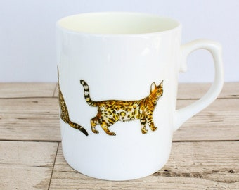 Bengal Bone China Mug - Hand Drawn Design - Hand Printed in the UK - Cat Mug