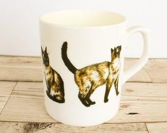 Siamese Bone China Mug - Hand Drawn Design - Hand Printed in the UK - Cat Mug