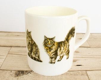 Maine Coon Bone China Mug - Hand Drawn Design - Hand Printed in the UK - Cat Mug