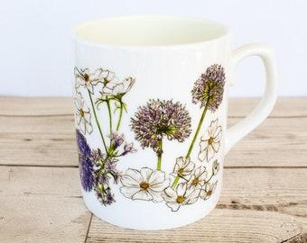 Floral Bone China Mug - Hand Drawn Design - Printed in the UK - Blue British Flowers - Wild Garden - Cottage Garden Roses Allium Sweet Pea