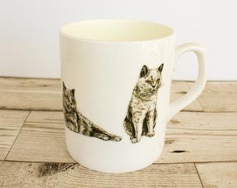 British Blue Bone China Mug - Hand Drawn Design - Hand Printed in the UK - Cat Mug