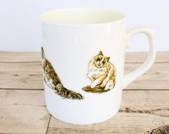 Ragdoll Bone China Mug - Hand Drawn Design - Hand Printed in the UK - Cat Mug