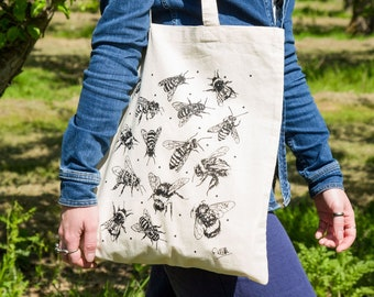 Graphic Image Canvas Bag Gift for Her Bee Botanical Nature Large Quality Canvas Shoulder Tote Bag