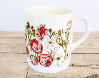 Floral Bone China Mug - Hand Drawn Design - Printed in the UK - Pink British Flowers - Wild Garden - Cottage Garden Roses Sweet Pea Peonies