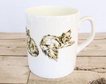 Persian Bone China Mug - Hand Drawn Design - Hand Printed in the UK - Cat Mug