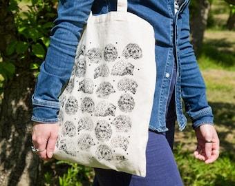 Hedgehog Cotton Tote Bag. Screen Printed Wildlife Bag. Reusable Bag. Woodland Animals. Hedgehog Bag. Hand Drawn Design. Illustration.