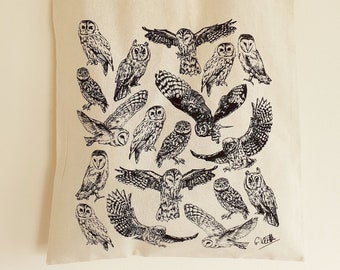 Owls Cotton Tote Bag | Hand Drawn Design by Gemma Keith | Natural Cotton Tote Bag | Screen Printed in the UK | Owl, Birds, Bird of Prey