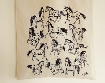 Horses Cotton Tote Bag | Hand Drawn Design by Gemma Keith | Natural Cotton Tote Bag | Screen Printed in the UK | Ponies, Farm Animals, Pony