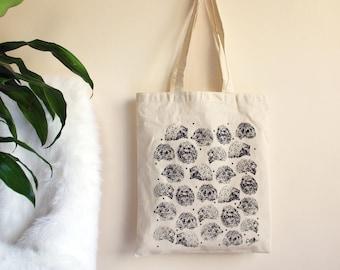Natural Hedgehog Design Cream Cotton Shoulder Bag // Shopper //Tote