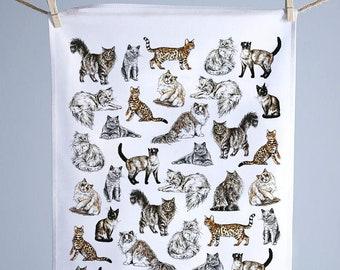 Cat Cotton Tea Towel | Made in the UK | Hand Drawn Design by Gemma Keith | 100% Cotton | Pet Kitchen Towel | British Design | Dish Cloth