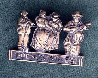 Charming ethnic Buenos Aires Vintage Brooch/Pin of two musicians and two dancing ladies.