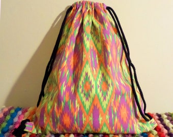 Geometric Psychedelic Drawstring Backpack
