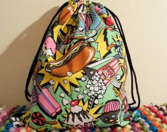 Pop Art Comic Food Drawstring Backpack