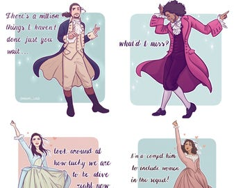 Hamilton Musical Stickers, Alexander Hamilton, Thomas Jefferson, King George, Eliza, Angelica and Peggy!