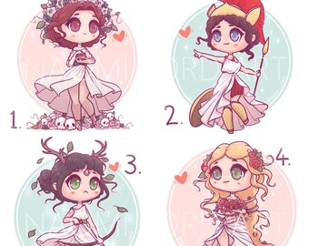 "Kawaii Greek Goddesses, Persephone, Athena, Artemis and Aphrodite, Stickers and/ or Prints (6x6 or 8x8"")"
