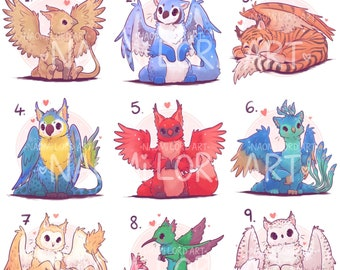 """Cute Griffins! Stickers and/ or Prints (6x6 or 8x8"""" approx) Snow leopard, owl, peacock, parrot, jaguar griffins!"""
