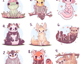 """Cute Animals (Pt 2) Stickers and/ or Prints (6x6 or 8x8"""" approx) Axolotl, Frog, Cockatiel, Otter, Panda, Sloth"""