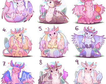 """Cute Pride inspired Dragons! Stickers and/or Prints (6x6"""" or 8x8"""" approx)"""