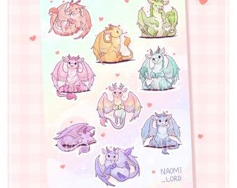 "Cute Rainbow Dragons, Vinyl Sticker Sheet (A5 / 6x8"")"