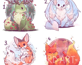 """Elemental Foxes Stickers and/ or Prints (6x6 or 8x8"""" approx)"""