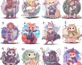 """Cute RPG Class Animals! Stickers and/ or Prints( 6x6"""" or 8x8"""" approx) Bard, Wizard, Paladin, Druid, ranger, warlock, sorcerer"""