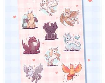 "Cute Mythical Creatures, Vinyl Sticker Sheet (A5 / 6x8"") Pegasus, Chimera, Griffon, Cerberus, Dragon, Unicorn, Hippogriff, Phoenix"