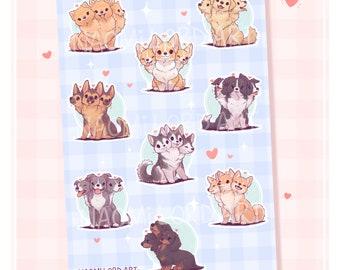 "Cute Cerberus as different Dog Breeds! Vinyl Sticker Sheet (A5 / 6x8"") Pomeranian, Corgi, Dachshund, Husky, Collie, Shiba, Pit Bull"