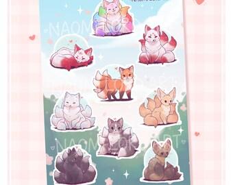 """Cute Magical Foxes / Kitsune, Vinyl Sticker Sheet (A5 / 6x8"""") Red Fox, Arctic fox, Fennec, Marble fox, Rainbow."""