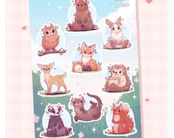 """Cute Animals, Vinyl Sticker Sheet (A5 / 6x8"""") Fox, Otter, Owl, Rabbit, Bear, Deer, Hedgehog, Badger, Squirrel"""